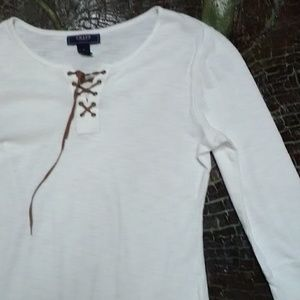 Clean white 3/4 sleeve Tee by CHAPS